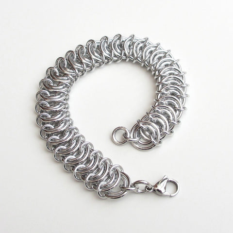 Aluminum vertebrae weave chainmaille bracelet - Tattooed and Chained Chainmaille  - 1