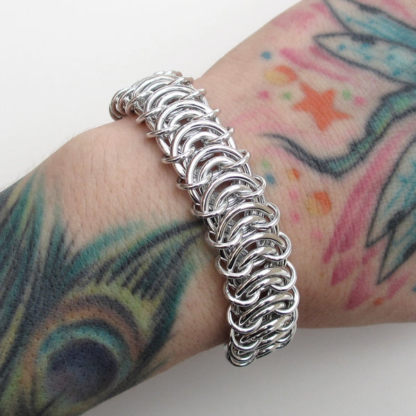 Aluminum vertebrae weave chainmaille bracelet - Tattooed and Chained Chainmaille  - 5