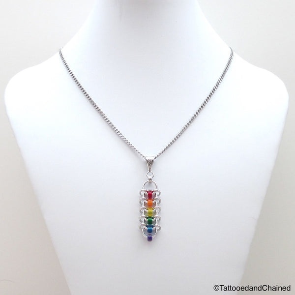 Rainbow pendant, chainmaille centipede weave gay pride jewelry - Tattooed and Chained Chainmaille  - 3