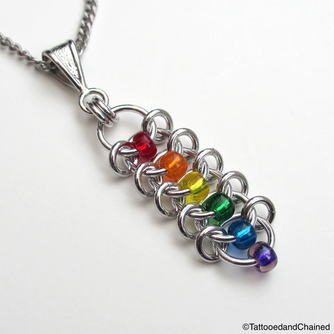 Rainbow pendant, chainmaille centipede weave gay pride jewelry - Tattooed and Chained Chainmaille  - 1