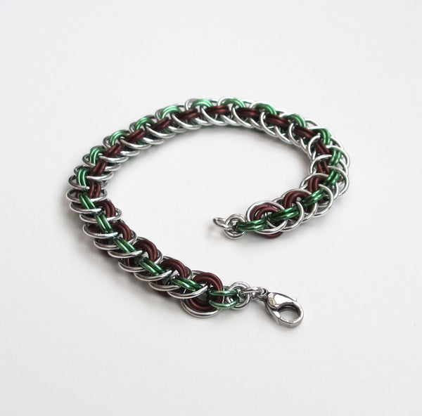Viper basket chainmaille bracelet, mint green and brown - Tattooed and Chained Chainmaille  - 1