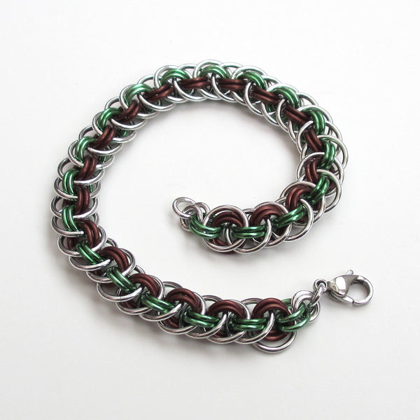 Viper basket chainmaille bracelet, mint green and brown - Tattooed and Chained Chainmaille  - 3
