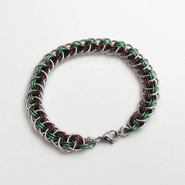 Viper basket chainmaille bracelet, mint green and brown - Tattooed and Chained Chainmaille  - 2