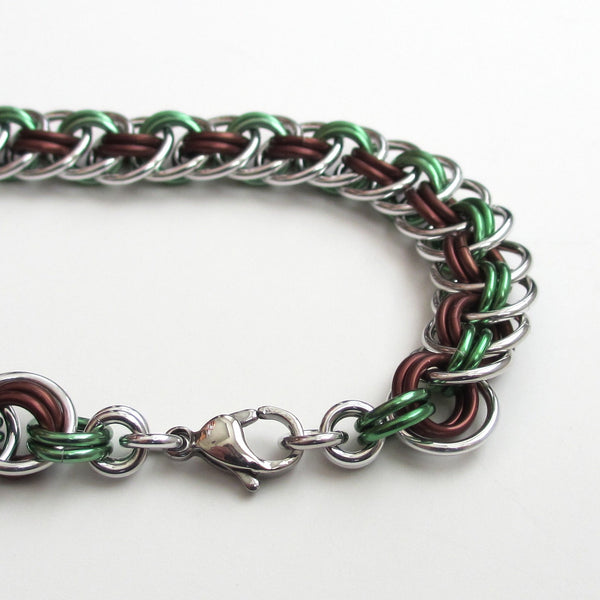 Viper basket chainmaille bracelet, mint green and brown - Tattooed and Chained Chainmaille  - 5