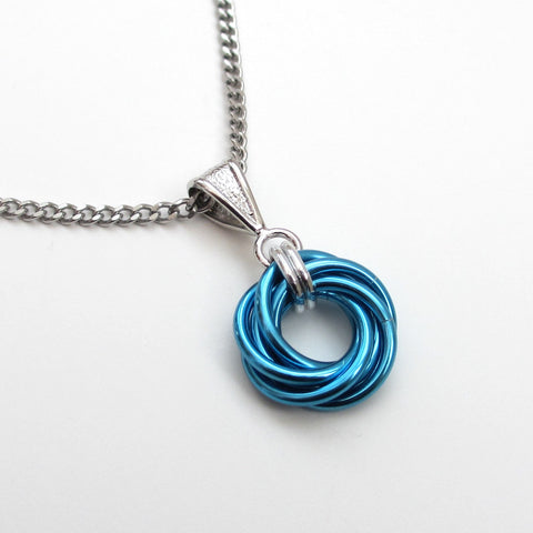 Turquoise chainmaille love knot pendant - Tattooed and Chained Chainmaille  - 1