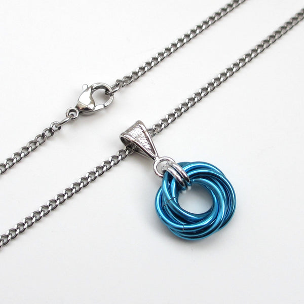 Turquoise chainmaille love knot pendant - Tattooed and Chained Chainmaille  - 3