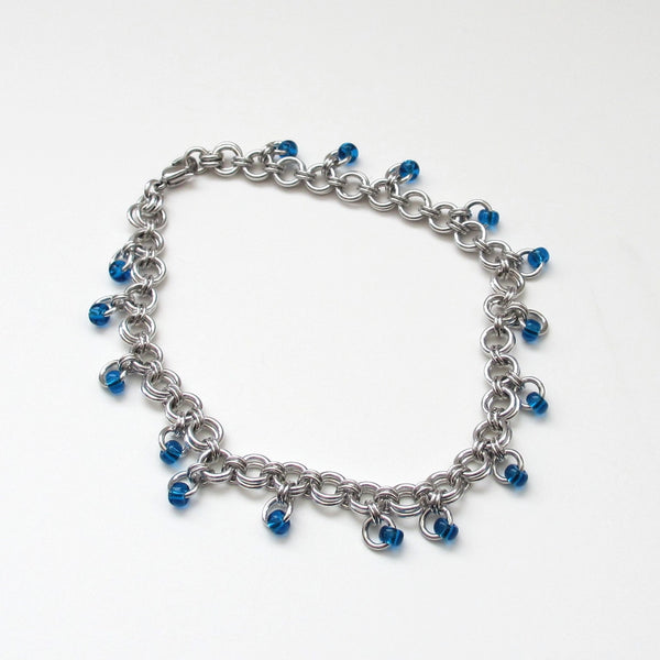 Blue beaded chainmaille anklet - Tattooed and Chained Chainmaille  - 4