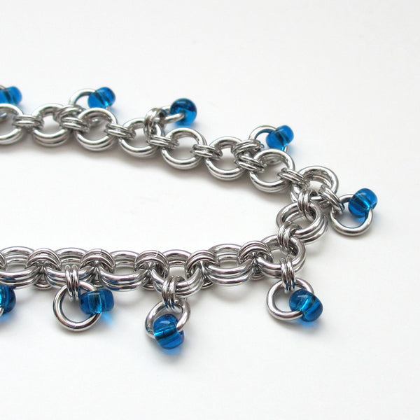 Blue beaded chainmaille anklet - Tattooed and Chained Chainmaille  - 5