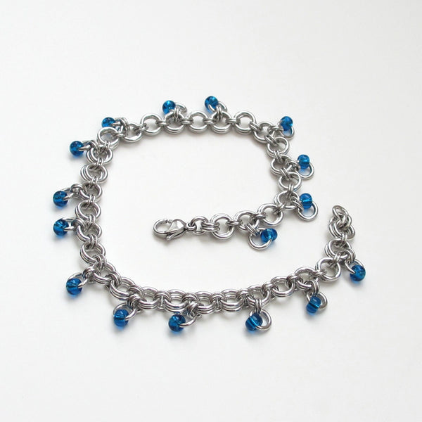Blue beaded chainmaille anklet - Tattooed and Chained Chainmaille  - 6