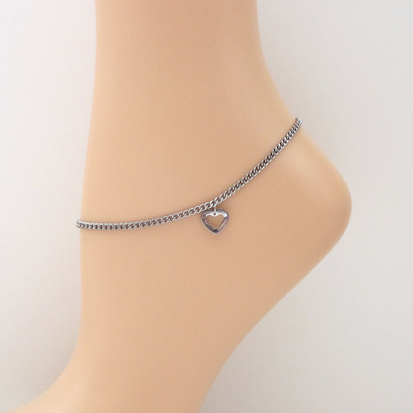 Stainless steel chain anklet with heart charm - Tattooed and Chained Chainmaille  - 6
