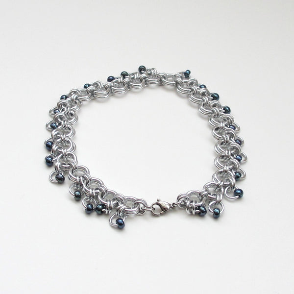 Gunmetal beaded chainmaille anklet - Tattooed and Chained Chainmaille  - 4
