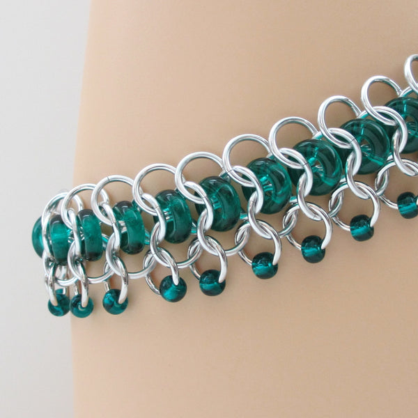 Emerald green glass chainmaille anklet - Tattooed and Chained Chainmaille  - 2