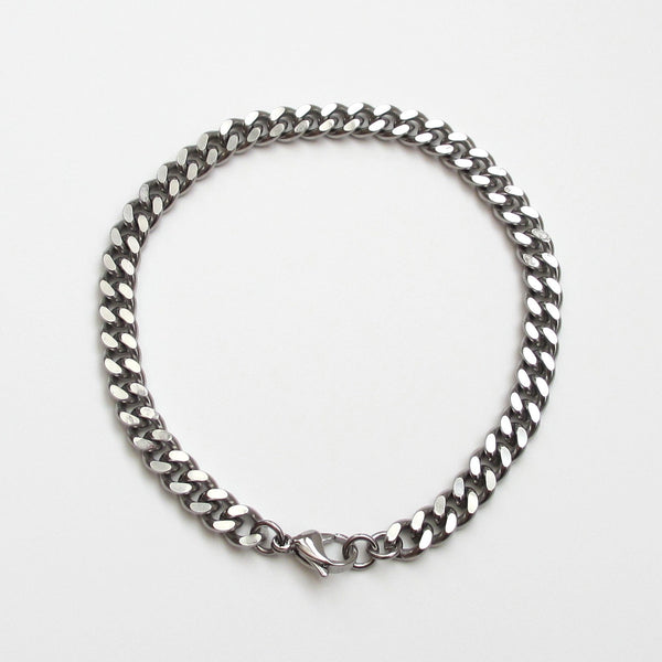 Thick stainless steel anklet, 7 mm curb chain - Tattooed and Chained Chainmaille  - 4