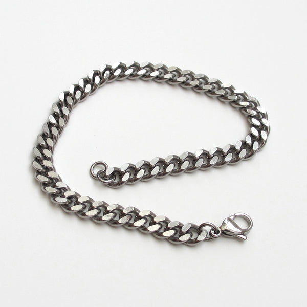 Thick stainless steel anklet, 7 mm curb chain - Tattooed and Chained Chainmaille  - 2