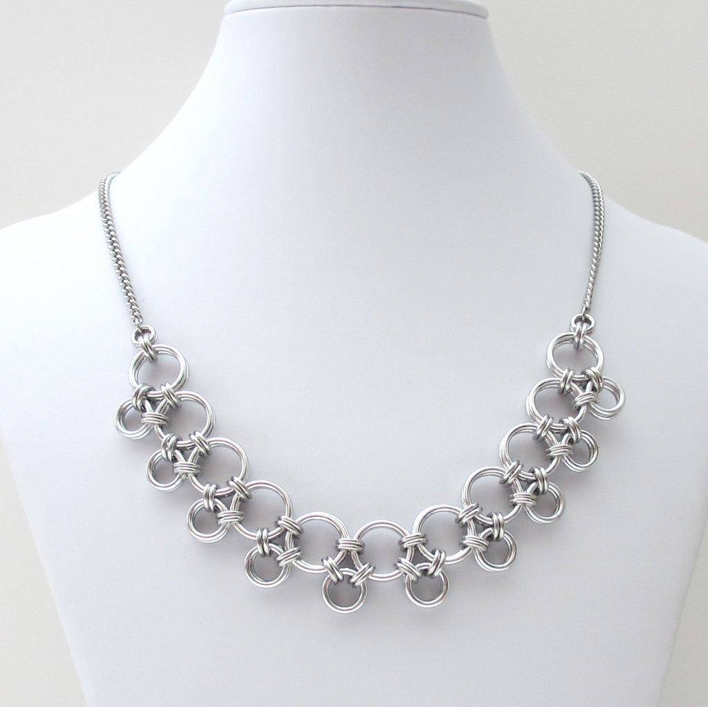 Silver Japanese style chainmaille necklace - Tattooed and Chained Chainmaille  - 1