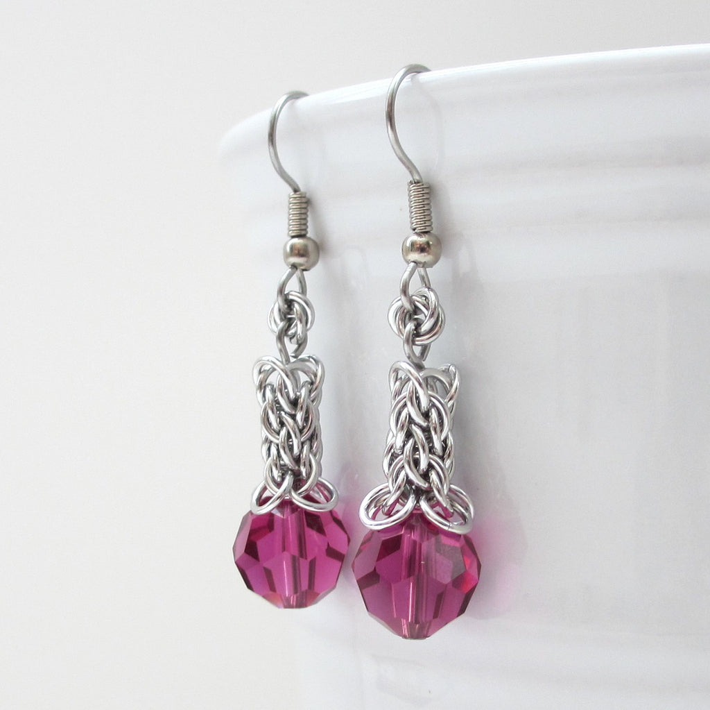 Fuchsia Crystal Candy Cane Cord Chainmaille Earrings  Tattooed And  Chained Chainmaille