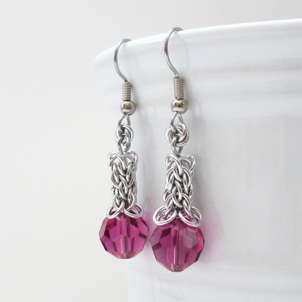 Fuchsia crystal Candy Cane Cord chainmaille earrings - Tattooed and Chained Chainmaille  - 3