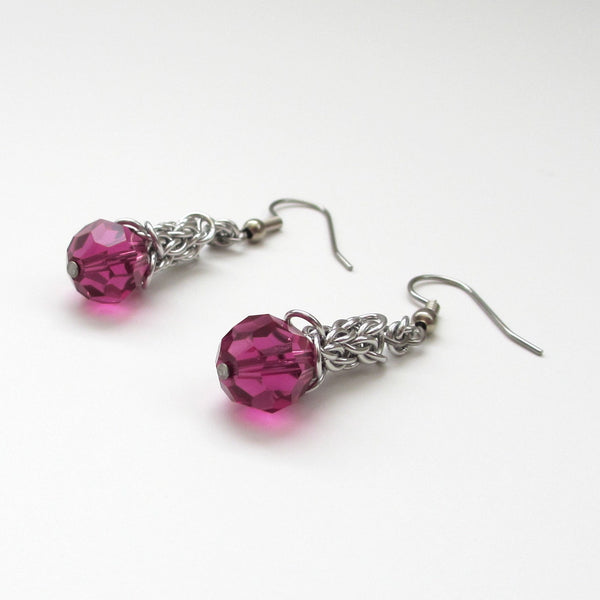 Fuchsia crystal Candy Cane Cord chainmaille earrings - Tattooed and Chained Chainmaille  - 4