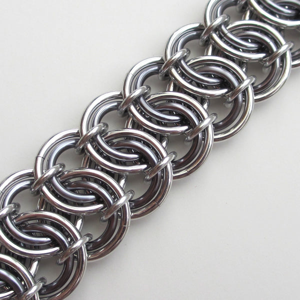 Gray chainmaille bracelet, garter belt weave - Tattooed and Chained Chainmaille  - 4
