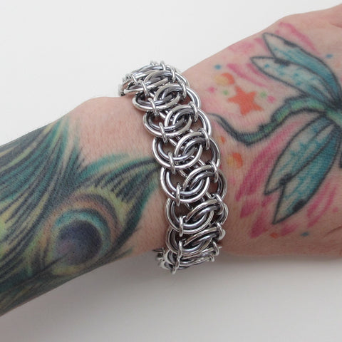 Gray chainmaille bracelet, garter belt weave - Tattooed and Chained Chainmaille  - 1