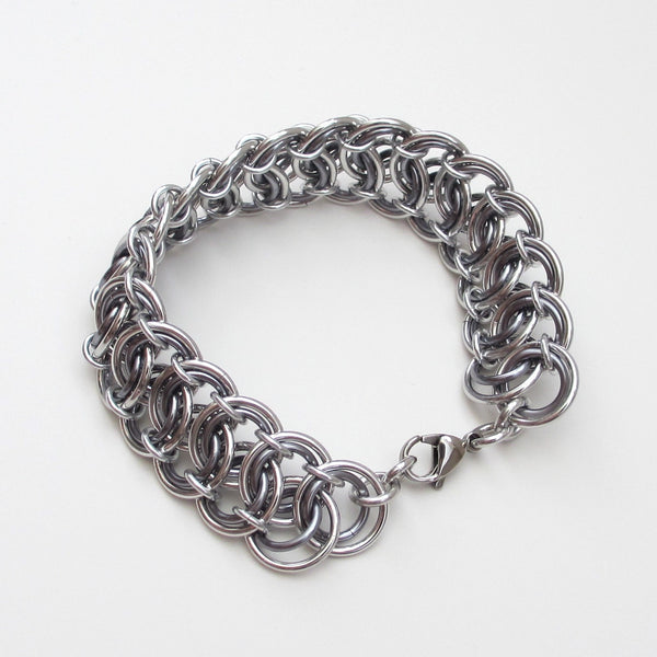 Gray chainmaille bracelet, garter belt weave - Tattooed and Chained Chainmaille  - 5