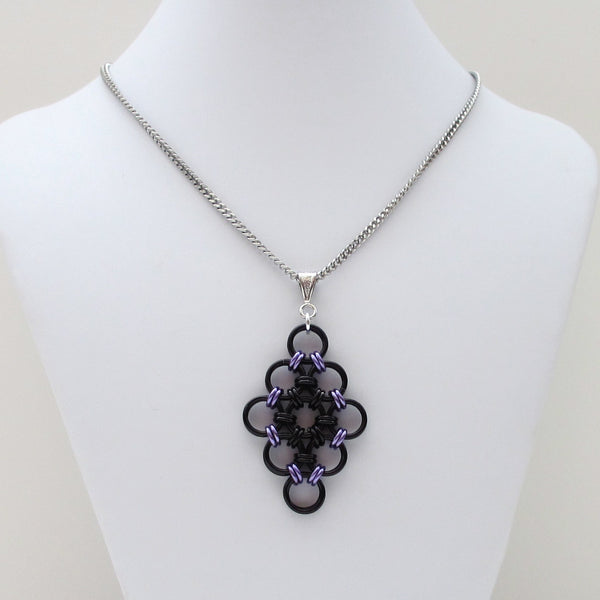 Black and purple chainmaille Japanese diamond pendant - Tattooed and Chained Chainmaille  - 2