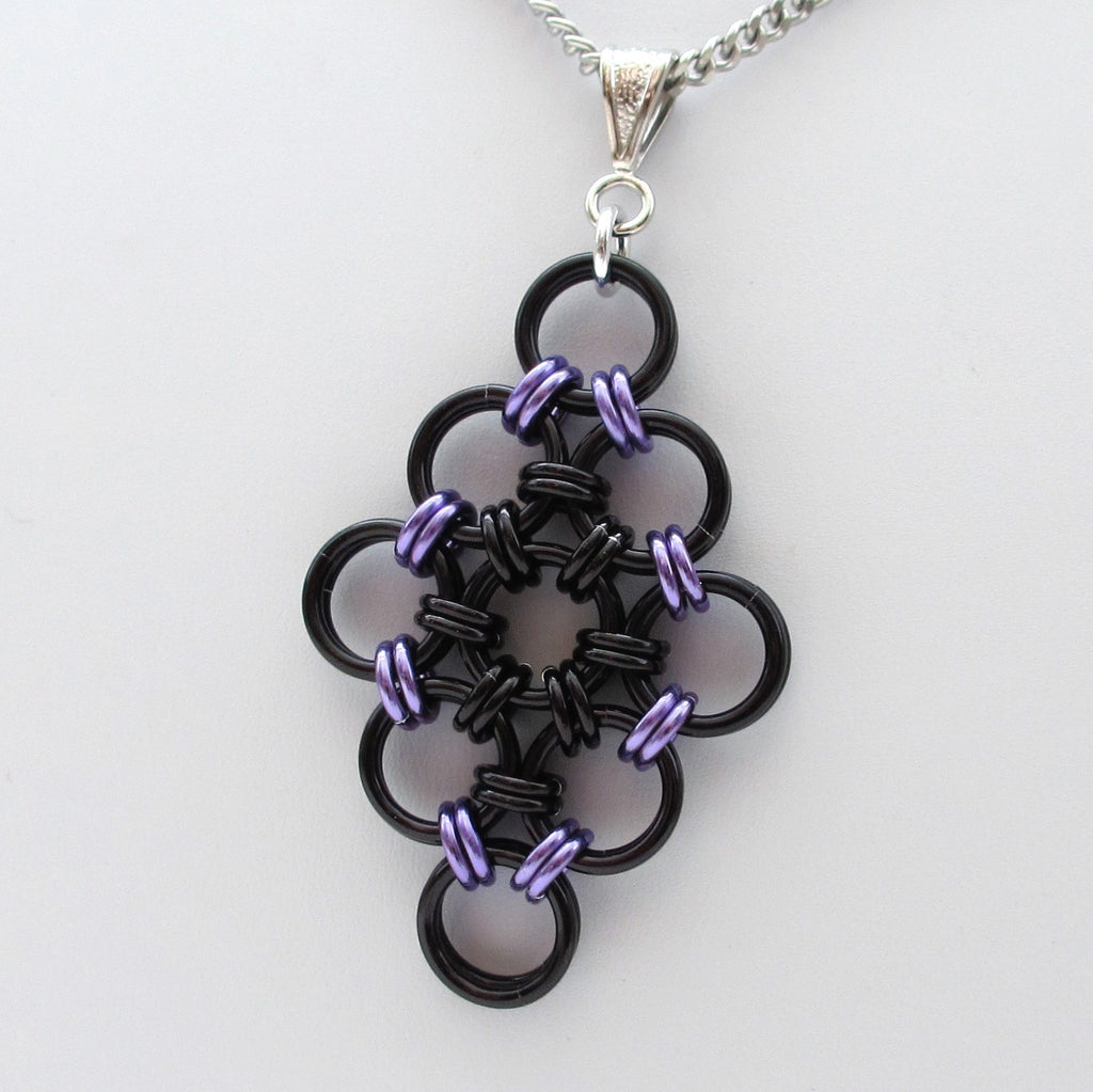 Black and purple chainmaille Japanese diamond pendant - Tattooed and Chained Chainmaille  - 1