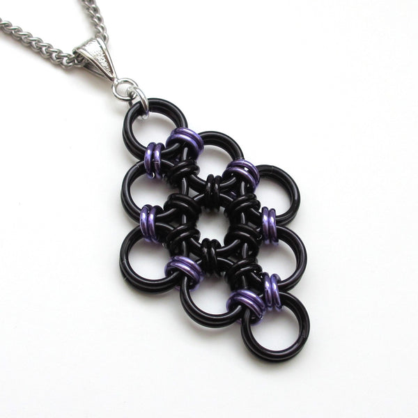 Black and purple chainmaille Japanese diamond pendant - Tattooed and Chained Chainmaille  - 4