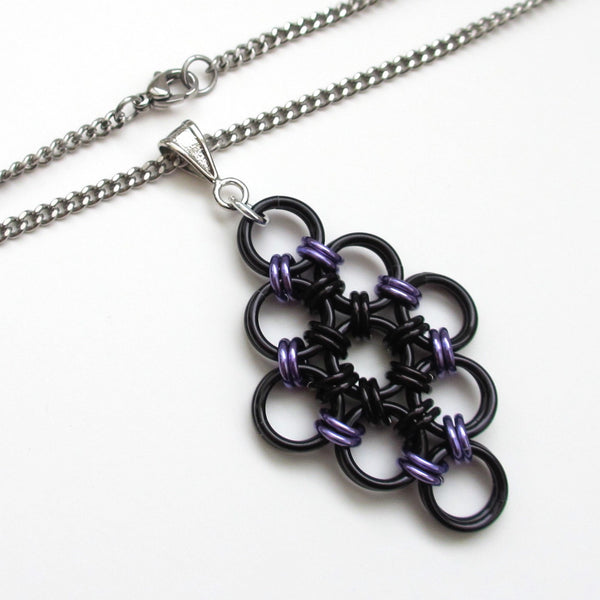Black and purple chainmaille Japanese diamond pendant - Tattooed and Chained Chainmaille  - 3