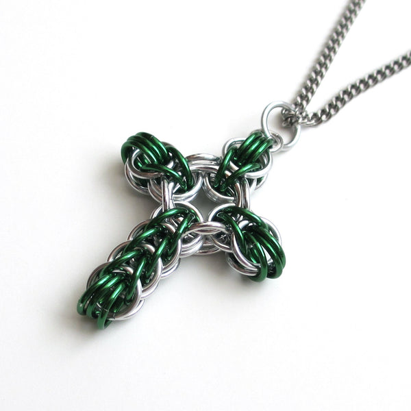 Green chainmaille cross pendant, full Persian weave - Tattooed and Chained Chainmaille  - 2