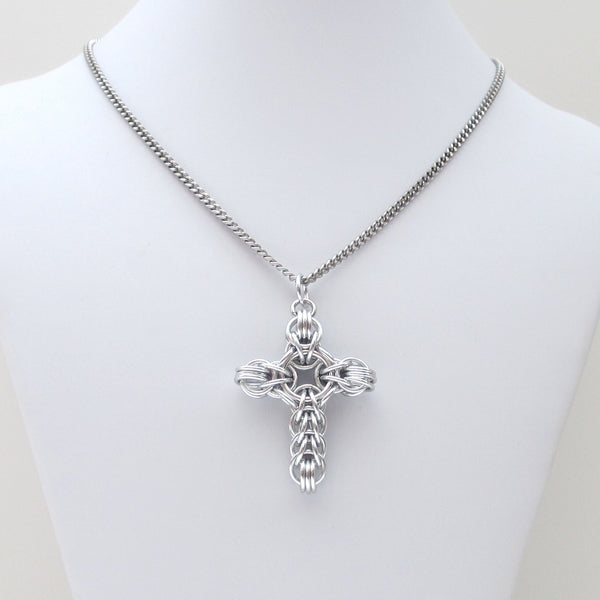 Silver chainmaille cross pendant, full Persian weave - Tattooed and Chained Chainmaille  - 3