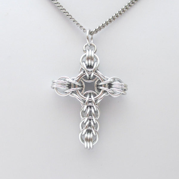 Silver chainmaille cross pendant, full Persian weave - Tattooed and Chained Chainmaille  - 2