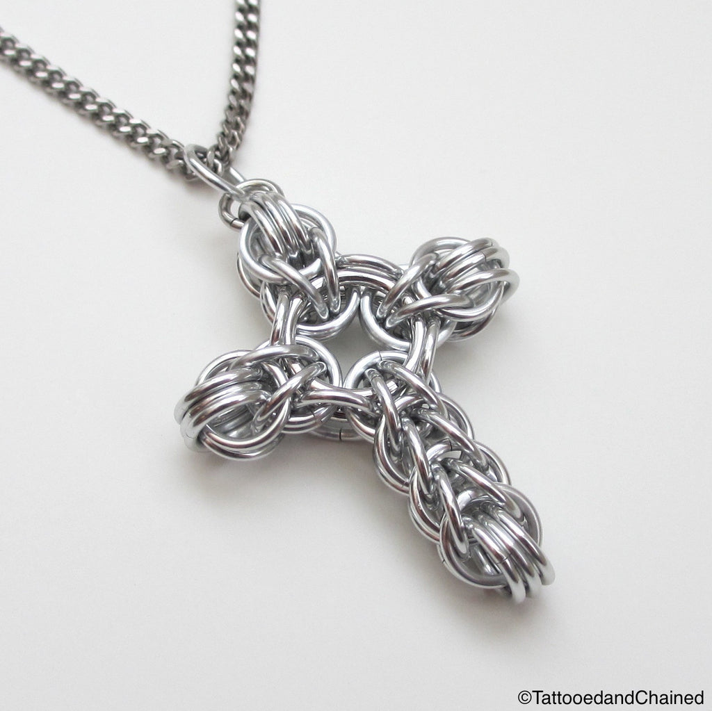Silver chainmaille cross pendant, full Persian weave - Tattooed and Chained Chainmaille  - 1