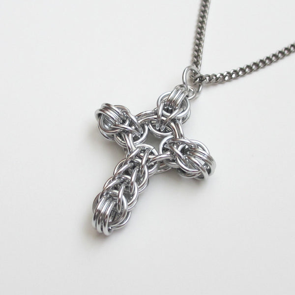 Silver chainmaille cross pendant, full Persian weave - Tattooed and Chained Chainmaille  - 4