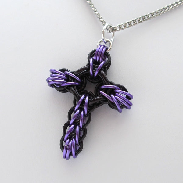 Black and purple chainmaille cross pendant, full Persian weave - Tattooed and Chained Chainmaille  - 4