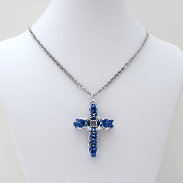 Blue chainmaille cross pendant, full Persian weave - Tattooed and Chained Chainmaille  - 2