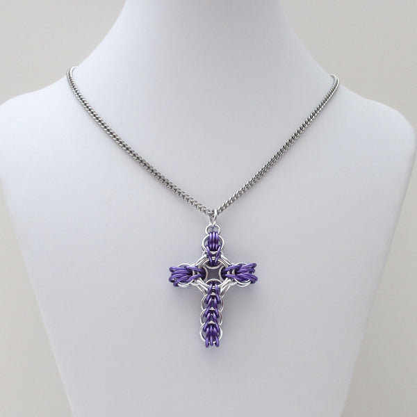 Purple chainmaille cross pendant, full Persian weave - Tattooed and Chained Chainmaille  - 3