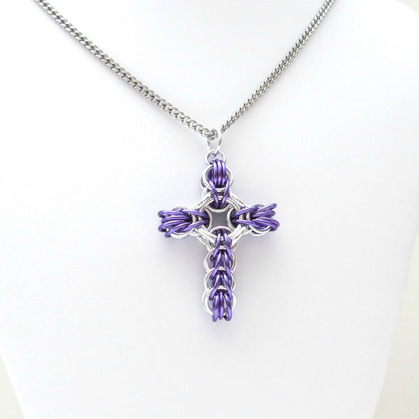 Purple chainmaille cross pendant, full Persian weave - Tattooed and Chained Chainmaille  - 4