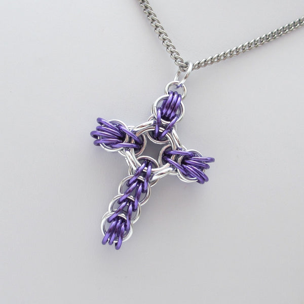 Purple chainmaille cross pendant, full Persian weave - Tattooed and Chained Chainmaille  - 2