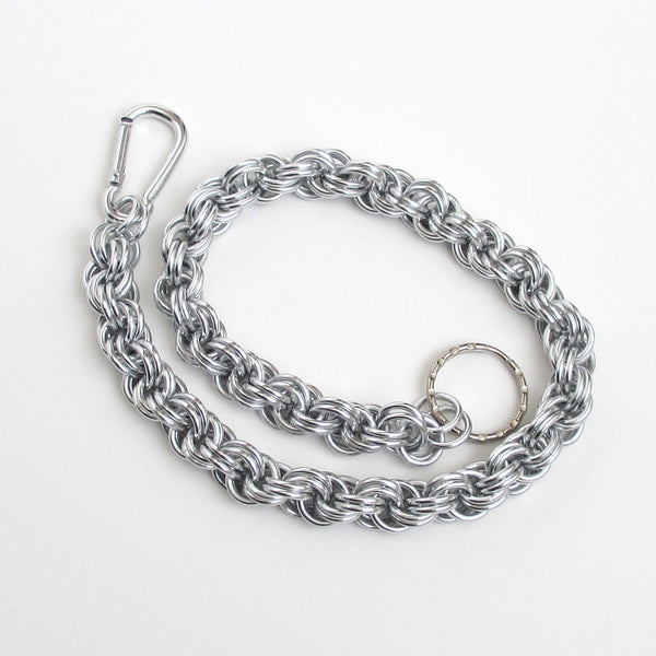 Aluminum chainmaille wallet chain, double spiral weave