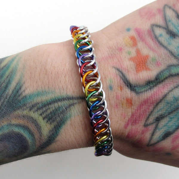 Gay pride bracelet, rainbow half Persian 4 in 1 chainmaille - Tattooed and Chained Chainmaille  - 4
