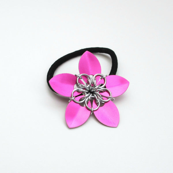Hot pink chainmaille flower hair accessory - Tattooed and Chained Chainmaille  - 3