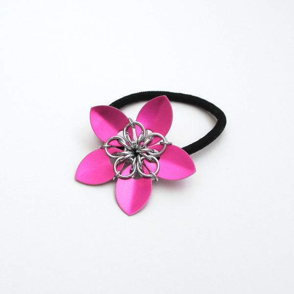 Hot pink chainmaille flower hair accessory - Tattooed and Chained Chainmaille  - 4