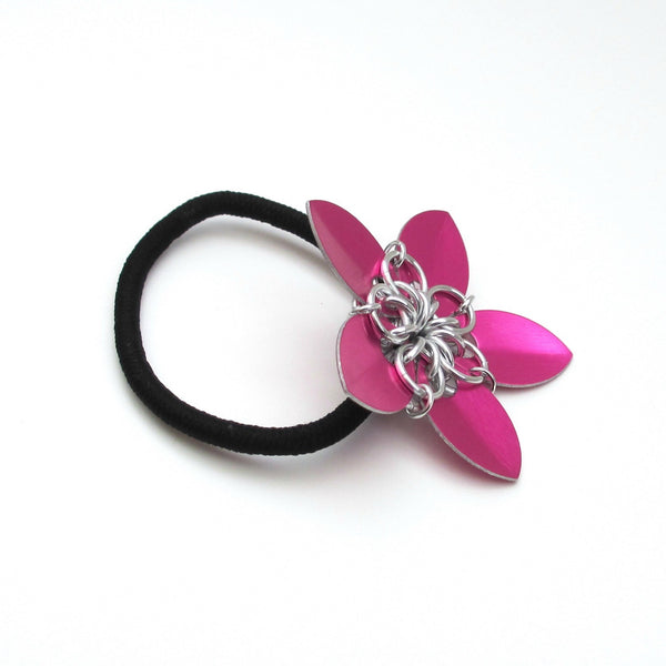 Hot pink chainmaille flower hair accessory - Tattooed and Chained Chainmaille  - 5