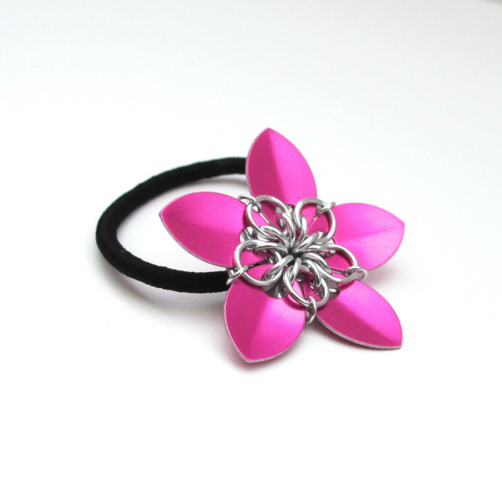 Hot pink chainmaille flower hair accessory - Tattooed and Chained Chainmaille  - 1