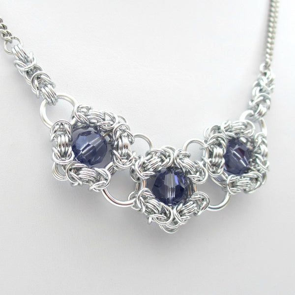 Tanzanite crystal chainmaille necklace - Tattooed and Chained Chainmaille  - 3