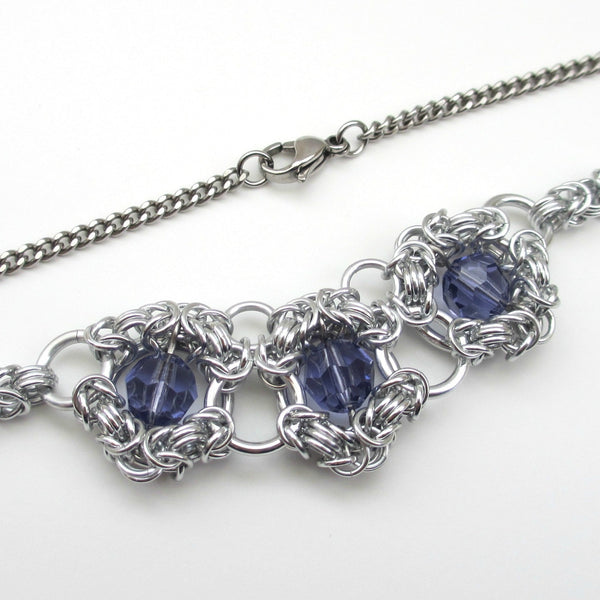 Tanzanite crystal chainmaille necklace - Tattooed and Chained Chainmaille  - 4