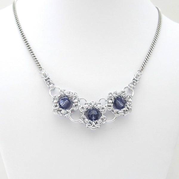 Tanzanite crystal chainmaille necklace - Tattooed and Chained Chainmaille  - 5