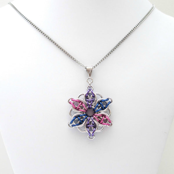 Bisexual pride chainmaille star pendant; pink, purple, blue - Tattooed and Chained Chainmaille  - 4