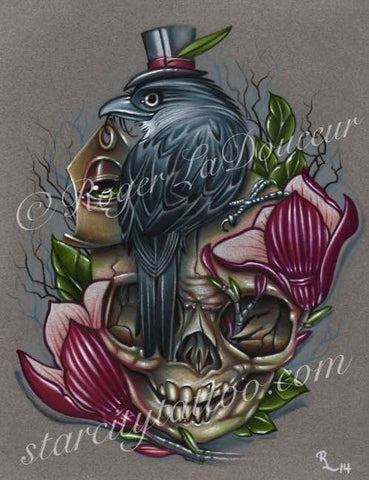 "Original art print, Crow Perched On Skull, size 8""x10"" - Tattooed and Chained Chainmaille"
